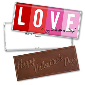 Personalized Valentine's Day Color Block Love Hershey's Embossed Chocolate Bar & Wrapper