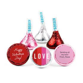 Personalized Valentine's Day Color Block Love Hershey's Kisses (50 pack)