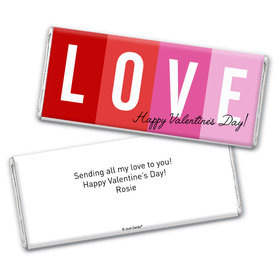 Personalized Valentine's Day Color Block Love Hershey's Chocolate Bar & Wrapper
