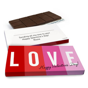 Deluxe Personalized Color Block Love Valentine's Day Chocolate Bar in Gift Box (3oz Bar)