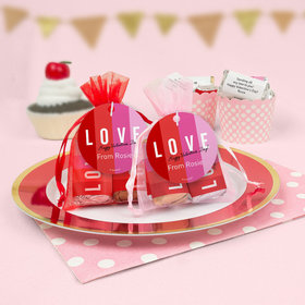Personalized Valentine's Day Color Block Love Hershey's Miniatures in Organza Bags with Gift Tag