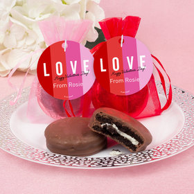 Personalized Valentine's Day Color Block Love Milk Chocolate Covered Oreo in Organza Bags with Gift Tag