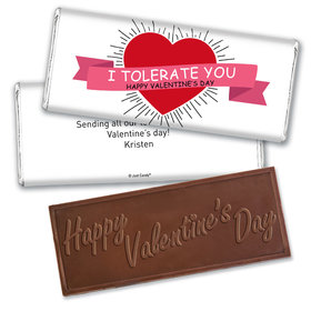 Personalized Valentine's Day I Tolerate You Hershey's Embossed Chocolate Bar & Wrapper