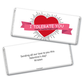 Personalized Valentine's Day I Tolerate You Hershey's Chocolate Bar & Wrapper