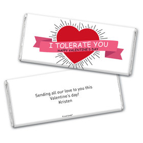 Personalized Valentine's Day I Tolerate You Chocolate Bar Wrappers Only