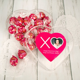 Personalized Valentine's Day Clear Heart Box with Lindor Valentine Heart Truffles