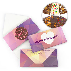 Personalized Kaleidoscope Heart Valentine's Day Gourmet Infused Belgian Chocolate Bars (3.5oz)