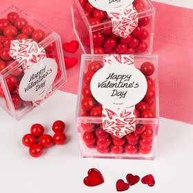 Valentine's Day Brushed Hearts Sweet Candy Cube Favors with Chocolate Pearls