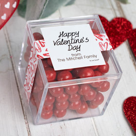 Personalized Valentine's Day Brushed Hearts JUST CANDY® favor cube with Sixlets Chocolate