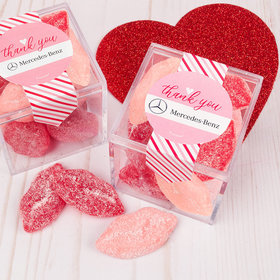 Personalized Valentine's Day Stripes of Passion Add Your Logo Sweet Candy Cube Favors with Jelly Belly Sour Smoochi Lips
