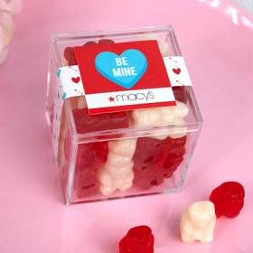 Personalized Valentine's Day Add Your Logo JUST CANDY® favor cube with Gummy Bears