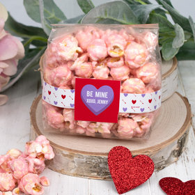 Personalized Valentine's Day Conversation Heart Candy Coated Popcorn 3.5 oz Bags