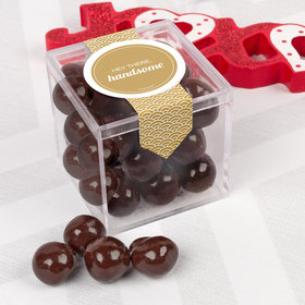 Personalized Valentine's Day Sweet Candy Cube Favors with Premium Barrel Aged Bourbon Cordials - Dark Chocolate