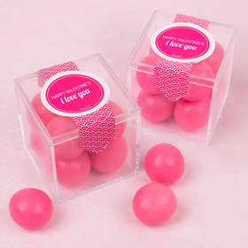 Personalized Valentine's Day Sweet Candy Cube Favors with Premium Malted Milk Balls