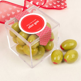 Personalized Valentine's Day Sweet Candy Cube Favors with Premium Martini Olive Almonds - White Chocolate