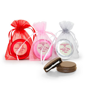 Personalized Valentine's Day Patterned Heart Chocolate Covered Oreo Cookies in Organza Bags - Set of 6