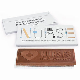Deluxe Personalized First Aid Nurse Appreciation Embossed Chocolate Bar in Gift Box