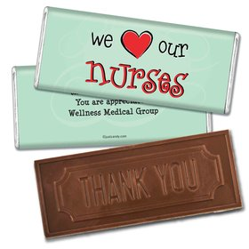 Nurse Appreciation Personalized Embossed Chocolate Bar We Heart Nurses