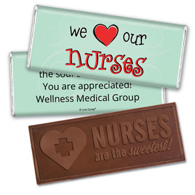Personalized We Love Our Nurses Embossed Chocolate Bar