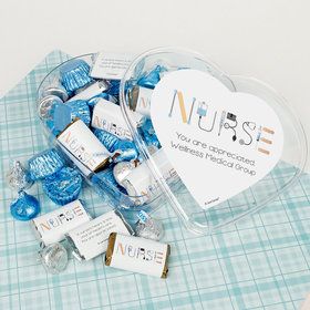 Personalized Nurse Appreciation First Aid Clear Heart Box (3/4 lb) - Hershey Miniatures, Kisses and JC Panut Butter Cups