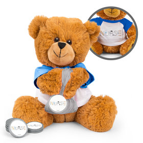 Personalized First Aid Nurse Appreciation Teddy Bear with Chocolate Coins in XS Organza Bag