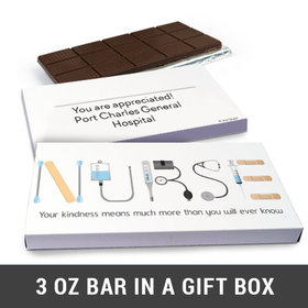 Deluxe Personalized First Aid Nurse Appreciation Belgian Chocolate Bar in Gift Box (3oz Bar)