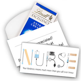 Deluxe Personalized Nurse Appreciation Lindt Chocolate Bar in Gift Box- First Aid