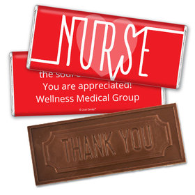 Personalized Nurse Pulse Embossed Thank You Chocolate Bar
