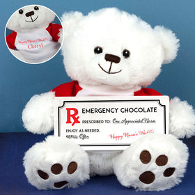 Personalized Nurse Appreciation Emergency Chocolate Teddy Bear with Embossed Chocolate Bar in Deluxe Gift Box