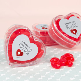Nurse Appreciation First Aid Heart Assembled Acrylic Heart Container with Just Candy Jelly Beans