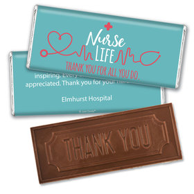 Personalized Nurse Appreciation Nurse Life Embossed Thank You Chocolate Bars