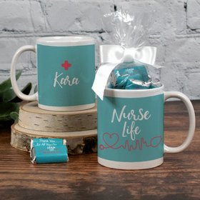 Personalized Nurse Appreciation Nurse Life 11oz Mug with approx. 24 Wrapped Hershey's Miniatures
