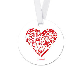 Red Heart Nurse Appreciation Round Favor Gift Tags (20 Pack)