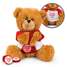 Personalized Nurse's Heart Nurse Appreciation Teddy Bear with Chocolate Coins in XS Organza Bag