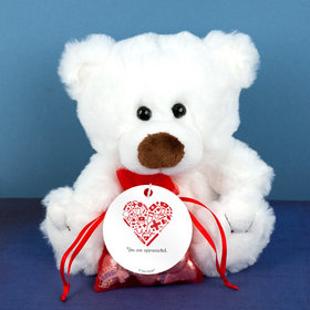 Personalized Nurse Appreciation Medical Heart White Teddy Bear and Organza Bag with Hershey's Kisses