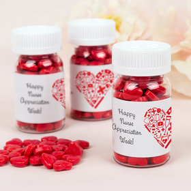 Nurse Appreciation Medical Heart Pill Bottle with Red Candy Hearts