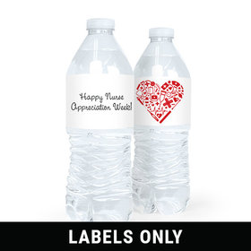 Personalized Nurse Appreciation Medical Heart Water Bottle Sticker Labels (5 Labels)