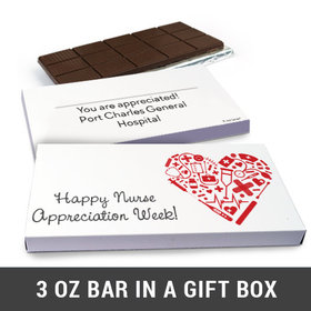 Deluxe Personalized Medical Heart Nurse Appreciation Belgian Chocolate Bar in Gift Box (3oz Bar)