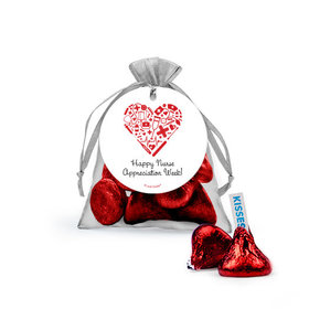 Personalized Nurse Appreciation Heart Hershey's Kisses in Organza Bags with Gift Tag