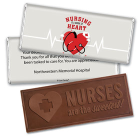 Personalized Nurse Appreciation Working Heart Embossed Nurse Chocolate Bars