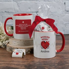 Personalized Nurse Appreciation Work of Heart 11oz Mug with approx. 24 Wrapped Hershey's Miniatures