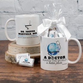 Thank You Doctor Personalized 11oz Coffee Mug with approx. 24 Wrapped Hershey's Miniatures