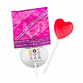 Personalized Nurse Appreciation Multicultural Scrubs Dum Dums Heart Pops with Gift Tag (30 pops)