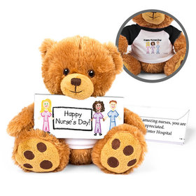 Personalized Nurse Appreciation Scribble Teddy Bear with Embossed Chocolate Bar in Deluxe Gift Box