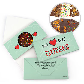 Personalized We Heart Nurses Nurse Appreciation Gourmet Infused Belgian Chocolate Bars (3.5oz)
