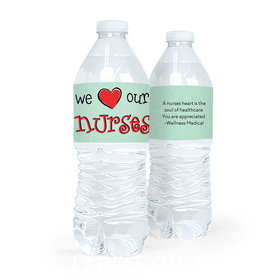 Personalized Nurse Appreciation We Heart Nurses Water Bottle Sticker Labels (5 Labels)