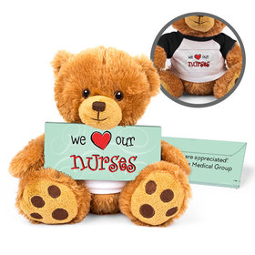 Personalized Nurse Appreciation Heart Teddy Bear with Embossed Chocolate Bar in Deluxe Gift Box