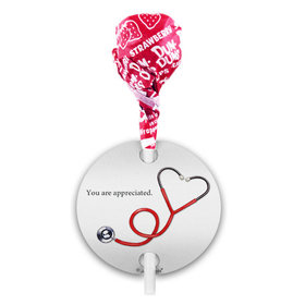 Personalized Nurse Appreciation Heart Stethoscope Dum Dums with Gift Tag (75 pops)