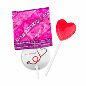 Personalized Nurse Appreciation Heart Stethoscope Dum Dums Heart Pops with Gift Tag (30 pops)