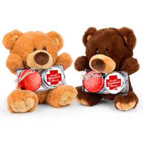 Personalized Nurse Appreciation Red Cross Teddy Bear with Chocolate Covered Oreo 2pk